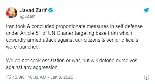 伊朗外长:我们不寻求冲突升级或战争
