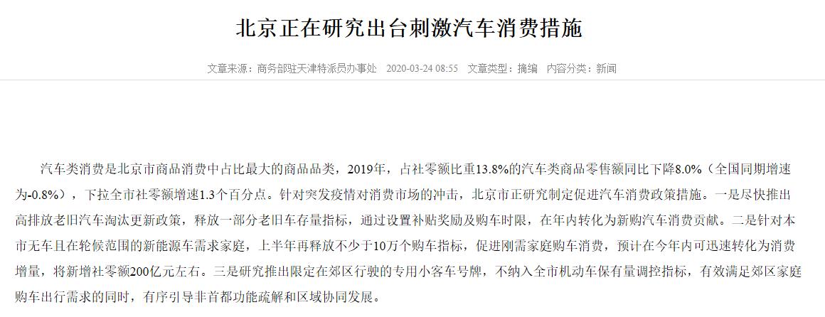 汽车刺激风起:北京研究出台政策 概念股站上风口
