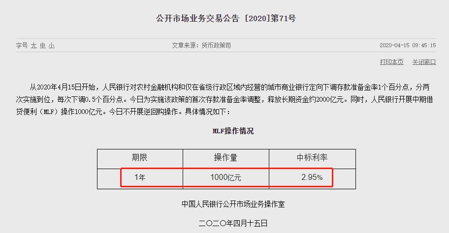 """央行""""降息"""":1000亿MLF操作 下调20个基点"""