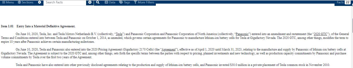 特斯拉与松下签订三年锂电池定价协议