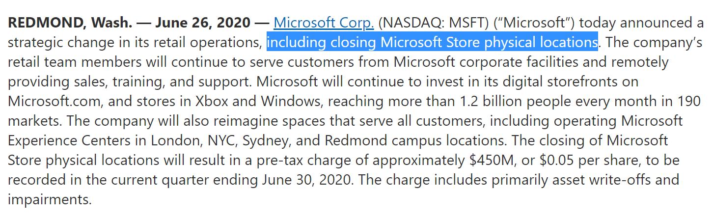 微软官宣关闭线下实体店铺并计提4.5亿美元减值 分析师:艰难但聪明的决定