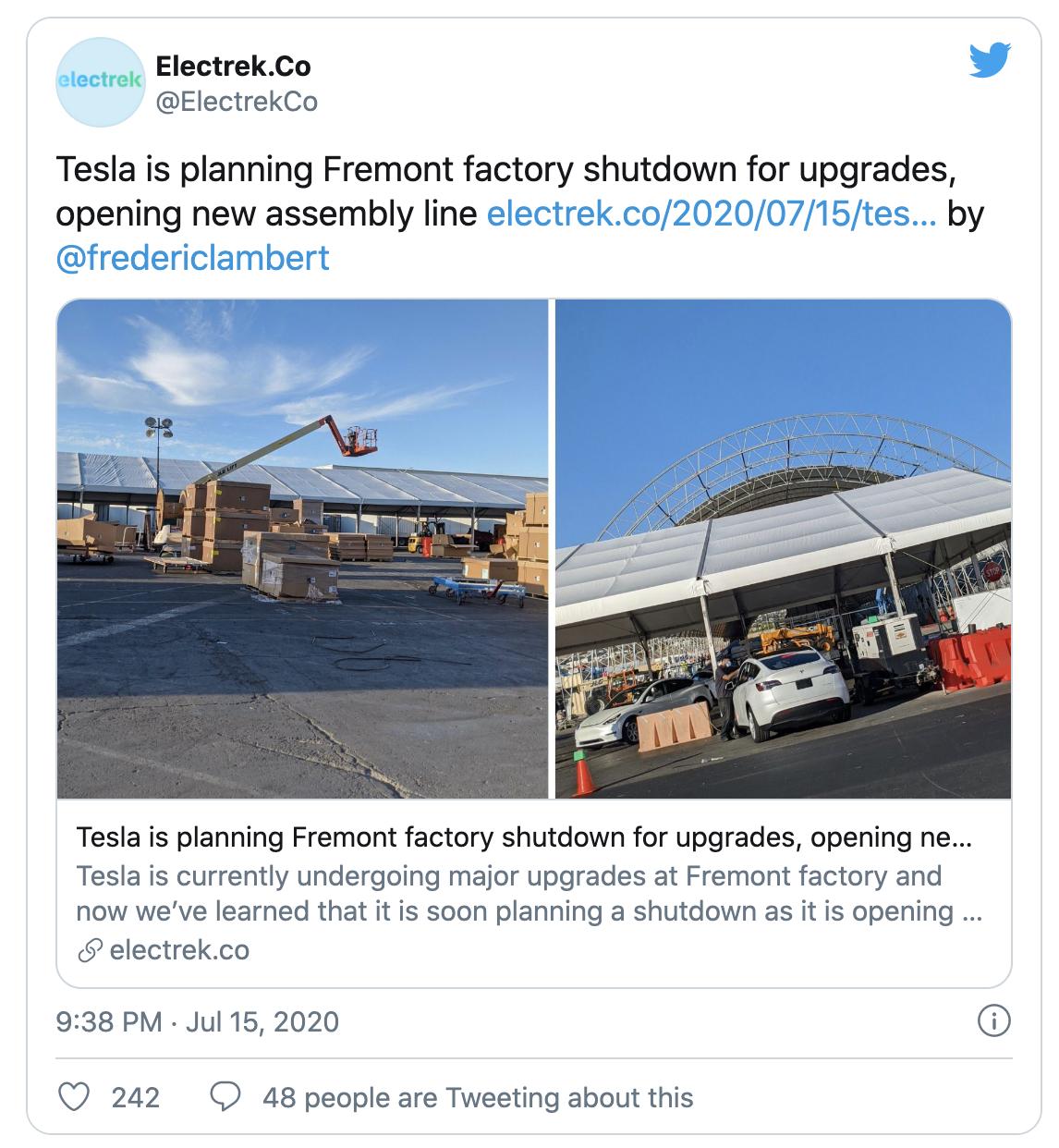 升级生产线以提高产能?特斯拉7月底或暂时关闭加州工厂