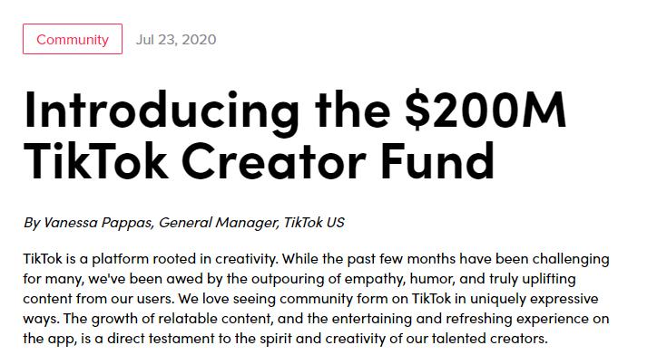 抖音国际版推出2亿美元基金 直接给美国顶级原创内容发钱