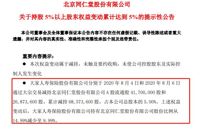 大家人寿减持同仁堂股份 买方为国信证券深圳振华路营业部