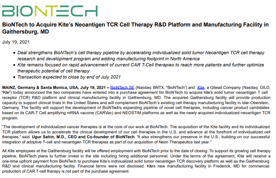 BioNTech收买吉利德子公司TCR-T设备 加码癌症细胞疗法范畴地位  第1张
