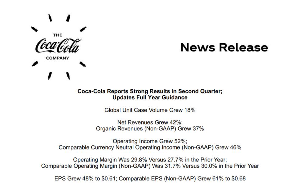 经济重启带动可口可乐业绩重返疫情前程度 预期明年将遭遇更大通胀压力  可口可乐 第1张