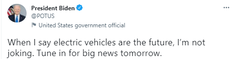 拜登:今晚发布电动车大新闻 马斯克:没邀请我?