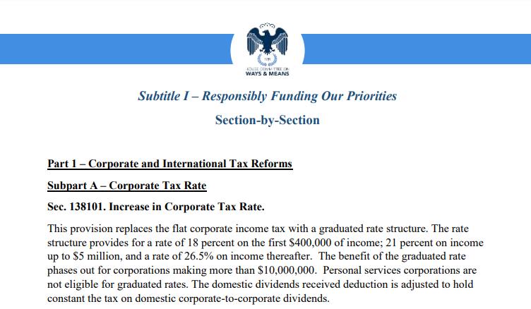 美寡议院民主党人公布增税草案:企业税率从21%进步到26.5%  企业税率 众议院 民主党 第1张