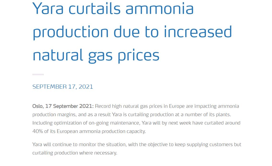 欧洲天然气危机又逼停一家化肥巨头 后续将涉及食物行业  第1张
