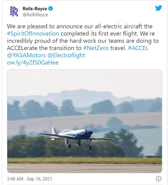 加速电气化!罗尔斯·罗伊斯全电动飞机初次试飞胜利  电动飞机 第1张